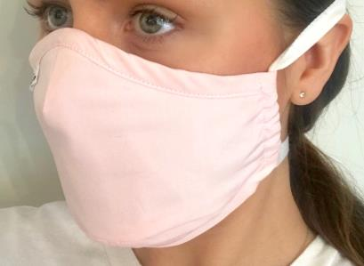 3-layer, diamond-shaped antibacterial cotton mask with silver fibers and a special filter pocket